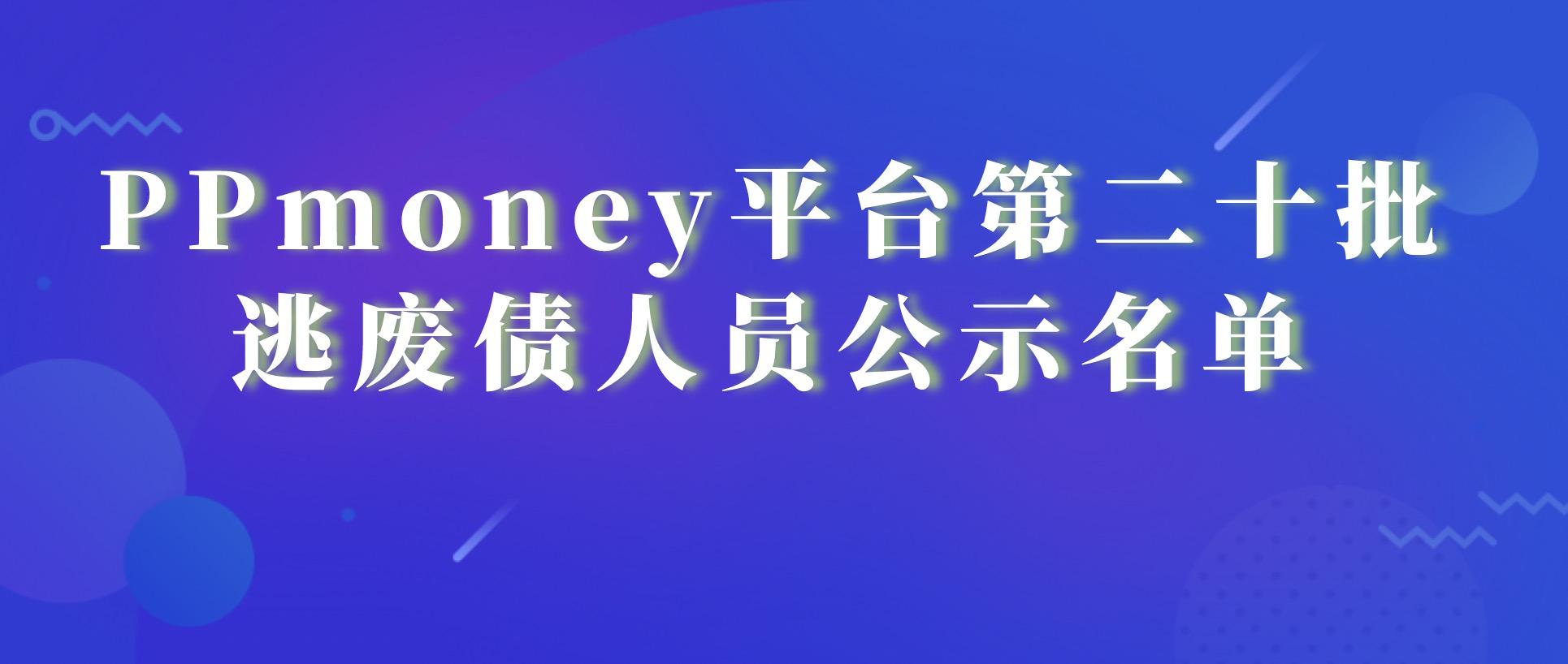 PPmoney平台第二十批逃废债人员公示名单
