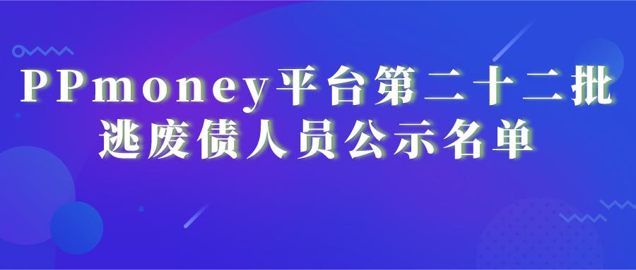 PPmoney平台第二十二批逃废债人员公示名单