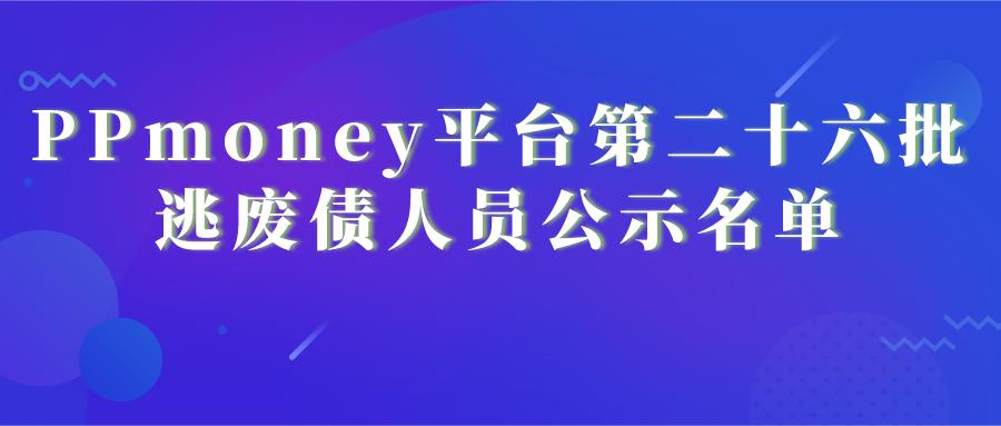 PPmoney平台第二十六批逃废债人员公示名单